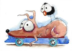 ACEO Original watercolor painting whimsical Dog bird crow skater dog #IllustrationArt