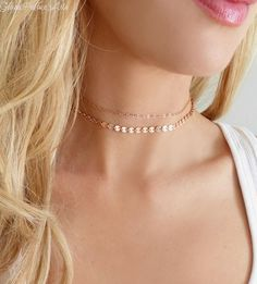 Rose Gold Choker Necklace - Dainty Double Choker Chain Necklace