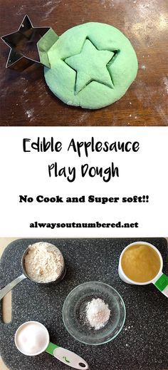 I'm loving all of these taste safe sensory recipes I'm seeing lately! Before I even attempted to start this playdough I knew I needed it to be no cook and edible. So here's what we came up with: Edible Applesauce Play Dough (super soft AND no cook!!)