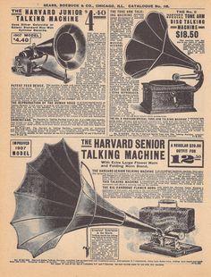 Double Sided Vintage Phonograph Graphophone Music Advertisement- Sears Roebucks Catalog 1905-1910. $1.50, via Etsy.