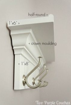 Check it out Make your own wall shelf for bedroom, bathroom, kitchen or entryway! DIY shelf with hooks via www.twopurplecouc… The post Make your own wall shelf for bedroom, bathroom, kitchen or entryway! DIY shelf w… appeared first on Etty Hair Saloon . Do It Yourself Furniture, Do It Yourself Home, Diy Furniture, Furniture Plans, Industrial Furniture, Homemade Furniture, Furniture Vintage, Furniture Design, Vintage Industrial