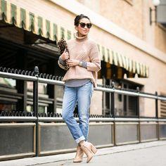 Mason by Michelle Mason sweater, Banana Republic striped top, 7FAM jeans, Chloe booties, Valentino bag, Karen Walker sunglasses.
