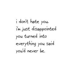 I don't hate you, I'm just disappointed you turned into everything you said you'd never be – Just disappointed.