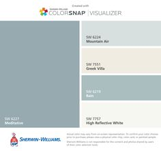 I found these colors with ColorSnap® Visualizer for iPhone by Sherwin-Williams: Meditative (SW 6227), Mountain Air (SW 6224), Greek Villa (SW 7551), Rain (SW 6219), High Reflective White (SW 7757).