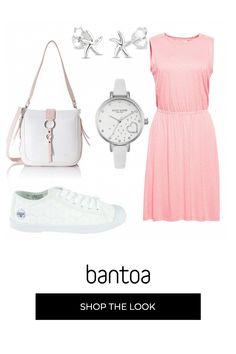 Look compuesto por vestido rosa, sneakers blancas, bolso blanco y rosa, pendientes de estrellas y reloj blanco. Outfit Mujer, Outfits, Casual, Polyvore, Shopping, Clothes, Fashion, Pink Sundress, Vestidos
