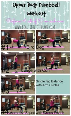 Free workout Printable to work the Upper Body at Home! All you need is a set of light weights!  www.BeautifultotheCore.com