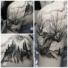 Harry Potter tattoo! Womping Willow and Hogwarts! #harrypotter #hp #tattoo…
