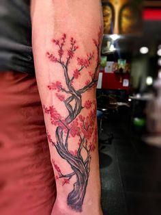 Cherry blossom tattoo  Koh Tao Bamboo Tattoo,Thailand,Koh Tao,Artist Nui Bamboo,facebook Bamboo nui Bamboo Tattoo, Bamboo Crafts, Blossom Tattoo, Koh Tao, Cherry Blossom, Watercolor Tattoo, Thailand, Artist, Arm