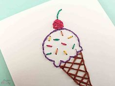 Grandma Craft Tips; How to understand crochet basics Towel Embroidery, Hand Embroidery Art, Embroidery Stitches, Embroidery Designs, Embroidered Paper, Grandma Crafts, Stitching On Paper, Sewing Cards, Clay Pot Crafts