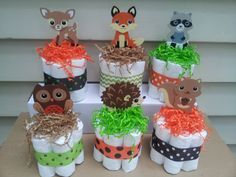6 Woodland theme mini diaper cakes baby shower by diapercake4less