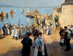 The Newlyn School: Painting Outdoors. Stanhope Forbes Gala Day at Newlyn, Cornwall, 1907 The painters of the Newlyn School of southwest England a century ago followed an extreme devotion to painting directly from life.