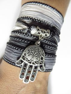 Bohemian Tree Of Life Silk Wrap Bracelet Hamsa Yoga by HVart, $29.95
