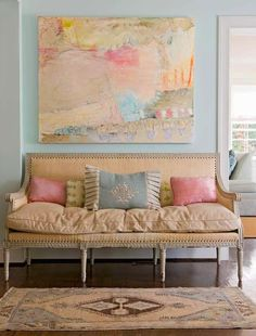 Andrews Design - entrances/foyers - kilim rig, pastel art, pastel foyer, pastel abstract art, oly studio sofa, foyer sofa, pink pillows, pink and blue pillows,