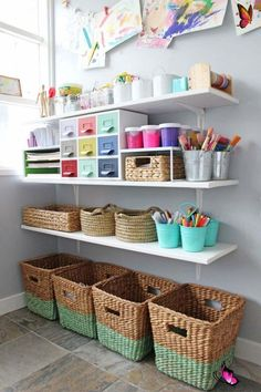 Gorgeous art space for kids. Love how all the art and craft supplies are organized!<br> Kids Art Area, Kids Art Space, Art For Kids, Kids Art Corner, Art Spaces, Small Spaces, Kid Art, Kids Art Station, Study Room Kids