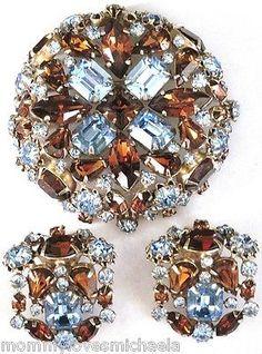 SCHREINER-Blue-Rootbeer-RHinestone-Gorgeous-Pin-Earring-Set