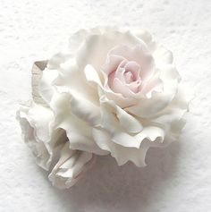 Polymer clay flowers jewelry Brooch white rose by SilverSeagullArt