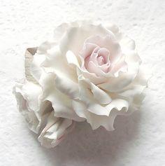 Polymer clay flowers jewelry Brooch white rose by SilverSeagullArt