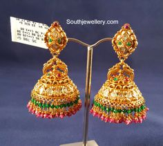 22 carat gold antique finish pacchi work jhumkas studded with uncut diamonds and kundans. For inquiries contact: Suraj Bhan Jewellery PH & Whatsapp: +91 9949022599 Email: surajbhanjewellery@gmail.com Gold Jhumka Earrings, Jewelry Design Earrings, Gold Earrings Designs, Diamond Jhumkas, Ruby Jewelry, Bead Jewellery, Bridal Jewellery, Pendant Jewelry, Indian Jewellery Design