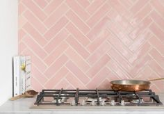 Our Pink Handmade Tiles work so well as a splashback to compliment copper interiors and accessories Pink Kitchen Walls, Kitchen Splashback Tiles, Backsplash, Pink Laundry Rooms, Copper Interior, Pink Tiles, Diy Kitchen Remodel, Handmade Tiles, Reno