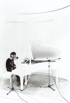 "John Lennon recording Imagine at home in Tittenhurst, Ascot. 21 June, the ""Imagine"" Sessions.What A Look With the White Piano & Room. Stoner Rock, Ringo Starr, Paul Mccartney, Music Love, My Music, Amazing Music, It's Amazing, Great Bands, Cool Bands"