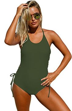 62f93218c2530 Arctic Cubic One Piece Halterneck Strappy Lace Up Side Padded Swimsuit  Teddy Bodysuit Monokini Army Green