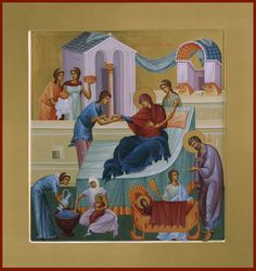 The Nativity of the Theotokos Byzantine Icons, Byzantine Art, Life Of Christ, Russian Icons, Biblical Art, Orthodox Icons, Christian Art, Religious Art, Images