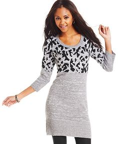 Take Out Juniors' Three-Quarter-Sleeve Graphic Sweater Dress