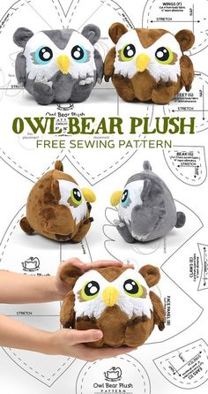 So, after making the owl plush last week I was reminded of some of the requests I received for an Owl Bear. It's sort of a classic monster created for the game Dungeons & Dragons, but versions … So, after making the owl plush last week I was remind Plushie Patterns, Owl Patterns, Sewing Patterns Free, Sewing Tutorials, Free Pattern, Beginners Sewing, Pattern Sewing, Sewing Toys, Sewing Crafts