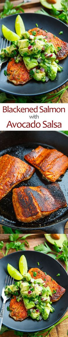 Blackened Salmon with Avocado Salsa - Salmon seasoned with a tasty cajun spice blend and pan fried until crispy served topped with a cool and creamy avocado salsa!Blackened Salmon with Avocado Salsa - You cannot have too much of a delicious thing. Salmon Recipes, Fish Recipes, Seafood Recipes, Dinner Recipes, Cooking Recipes, Healthy Recipes, Easy Cooking, Seafood Meals, Skinny Recipes