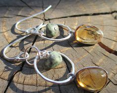 Sweet Dangles Citrine and Turquoise by kimhunt on Etsy