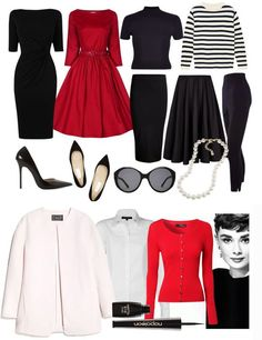 Audrey Hepburn Style Capsule Wardrobe, would do this but with royal blue or basically any color but red...:
