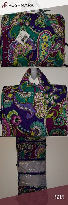 "Vera Bradley Hanging Organizer NWT Pretty purple, Flowery design bag to store all your stuff. Travel or at home over the door. This bag can be whatever you want. It's got spots for all your stuff. Approx measurements 10x12"" closed Vera Bradley Bags Travel Bags"