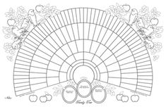 11x17 Printable Genealogy Fan Chart Coloring Page Bird Design