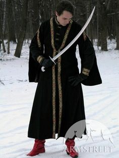 Medieval Warrior Male Cotton Tunic and Wool Overcoat Garb Coat Costume. $215.00, via Etsy.