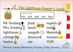 A printable word mat with words and pictures linked to the story of The Lighthouse Keeper's Lunch by Ronda and David Armitage. School Themes, School Ideas, Lighthouse Keepers Lunch, Pie Corbett, Teaching Resources, Teaching Ideas, Procedural Writing, Bucket And Spade, Curriculum Planning