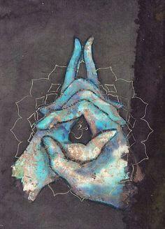 """3rdquartermoon: vufus: """"Crown Chakra Mudra"""" Artist: Tilly Campbell-Allen ☽☮☾ Esta es la séptima y más espiritual chakra. Se rodea la sabiduría de un ser y ser uno con el universo"""