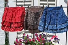 Shweshwe skirts - buy lovely african fabrics at www.karlottapink.com African Attire, African Dress, African Outfits, Shweshwe Dresses, African Fabric, Little Girl Dresses, Modest Outfits, Dress Patterns, Xhosa