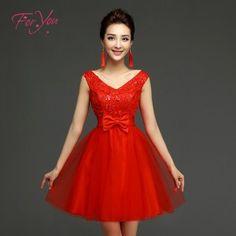 foto de vestido corto de noche rojo