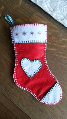 Kerst sokje gemaakt van vilt!