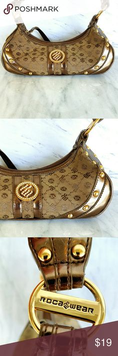 🍍 Roca Wear RW Brown Gold Studded Handbag Roca Wear RW Brown Gold Studded Handbag Size small used twice Supper Clean interior spotless  Inventory #46 Rocawear Bags Shoulder Bags