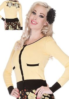 Voodoo Vixen Yellow Black Anna Rose 50's Cardigan Shirt Top Rockabilly Pinup | eBay