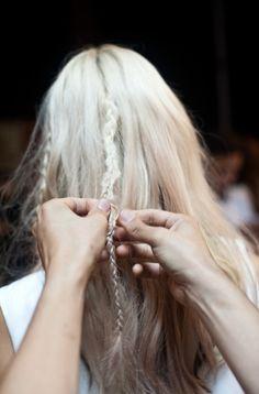 White Blonde; Boho Mini Braids; Easy Hairstyles; Long Hair