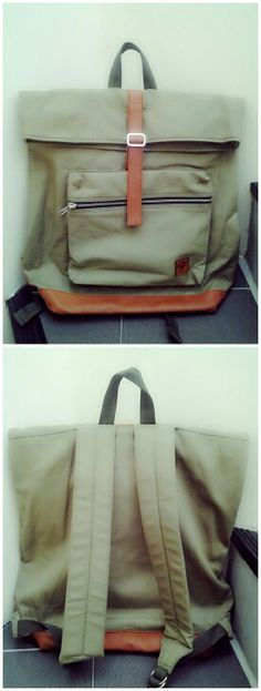 Olive Green Backpack, canvas bag with sythetic leather applications.