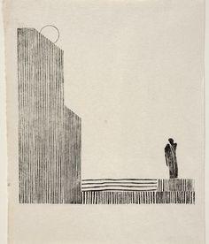 """Hamlet fragmento: altas columnas y pequeña figura"". Xilografía sobre papel japonés, 25'4 x 20'2 cm. Gabinetto G. P. Vieusseux, Florencia/©Archivo contemporáneo Alessandro Bonsanti:"