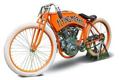 The Flying Merkel. Innovative century-old motorcycle recreated in resplendent orange Antique Motorcycles, Custom Motorcycles, Custom Bikes, Motocross Bikes, Sport Bikes, Custom Beach Cruiser, Bike With Sidecar, Motorised Bike, Ride Out