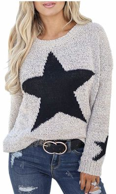 4c496d2051d Mary Anna Jefcoat · Women s Fall Fashion · Under  30 star shirt - star  sweatshirt Fall Sweaters For Women
