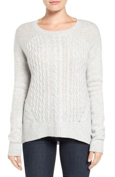 Halogen® Cable Knit Wool & Cashmere Sweater Have this, LOVE it.  Great fit, sleeves long enough too.