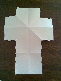cool paper folding Easter craft...  When I first learned this, there was a  story that went with each tear and then each piece had a part.  I remember the two squares were the dice that the me used to cast lots for Jesus' clothes but that's all I can remember...