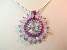 Crystal necklace clear 14mm rivoli  peyote by KeepsakeDesignsbyCMM, $35.75