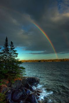 Rainbow over Raspberry Island, Isle Royale National Park, Michigan; photo by .Carl TerHaar